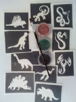 10 Dinosaur / Snake stencil set including 3 colours + glue + brush     Ideal for boys glitter tattoos